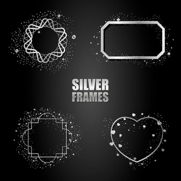 Set zilveren metalen frames Premium Vector