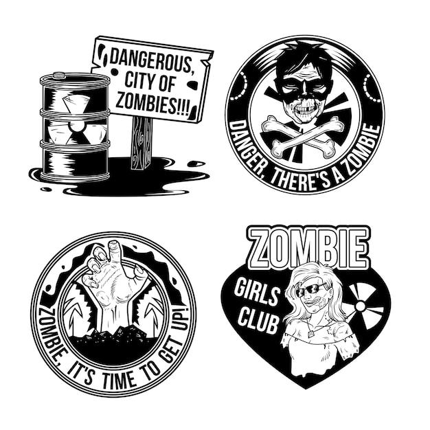 Set zombie emblemen Gratis Vector