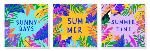 Set zomer illustraties met tropische bladeren, toekan en bloemen Premium Vector