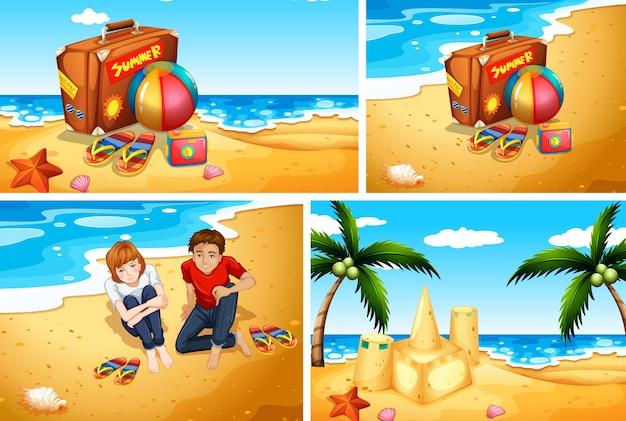 Set zomer strand achtergrond Gratis Vector