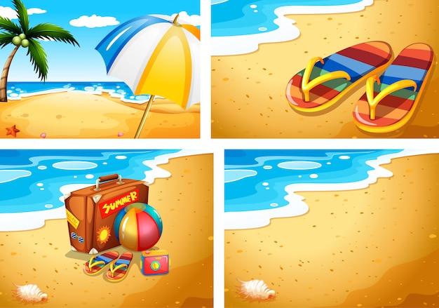 Set zomer strand scènes Gratis Vector