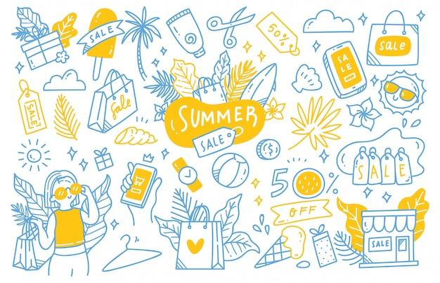 Set zomer verkoop doodle collectie Premium Vector