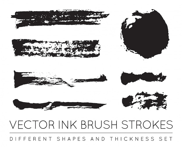 Set zwarte pen inkt penseelstreken. grunge inkt penseelstreek. vuile penseelstreek. Premium Vector