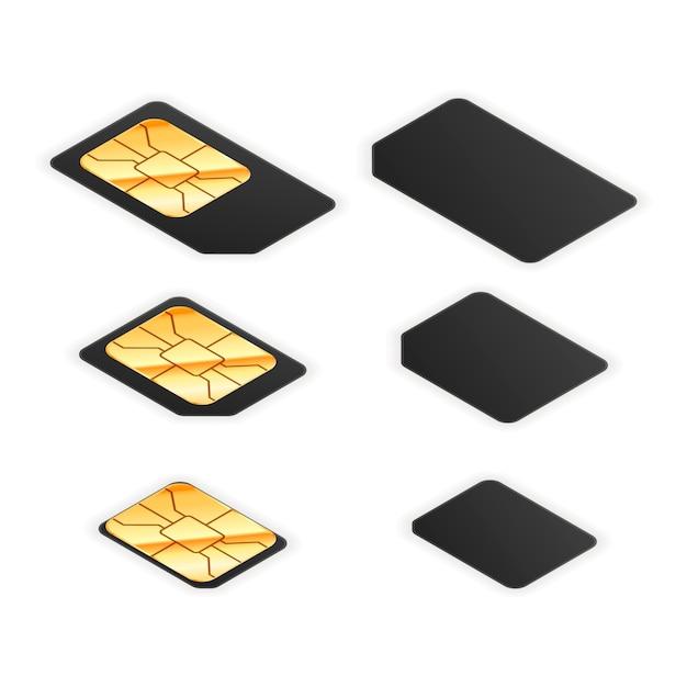 Set zwarte standaard-, micro- en nano-simkaarten voor telefoon met aan beide zijden een gouden glanzende chip Premium Vector