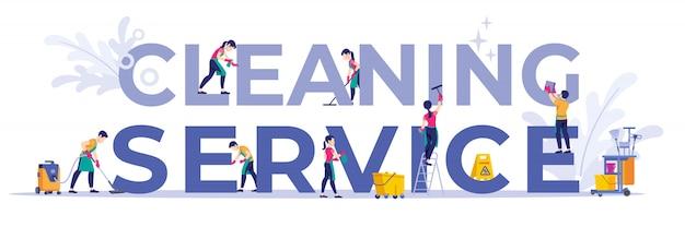 Setcleaning personeel van het bedrijf verschillende poses, voor webpagina, banner, presentatie, sociale media, documenten, kaarten, posters. Premium Vector