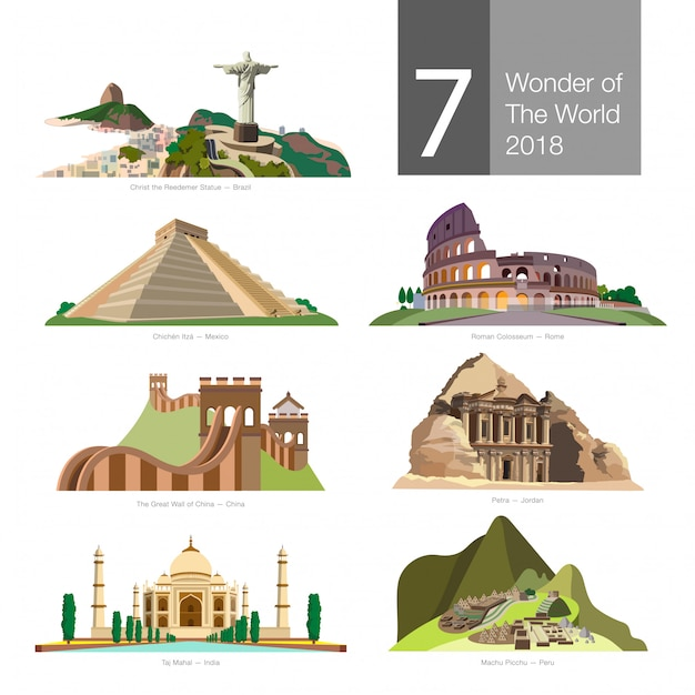Seven wonder of the world vector. Premium Vector