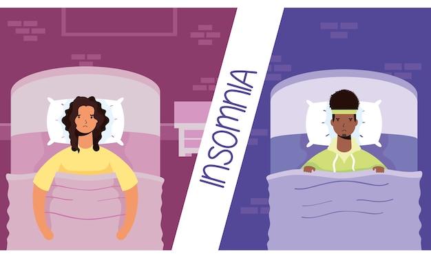 Sex tussen verschillendre rassen paar lijdt aan slapeloosheid tekens illustratie Premium Vector