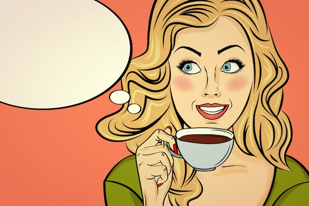 Sexy blonde pop-artvrouw met koffiekop. adverteren poster in komische stijl. vector Premium Vector