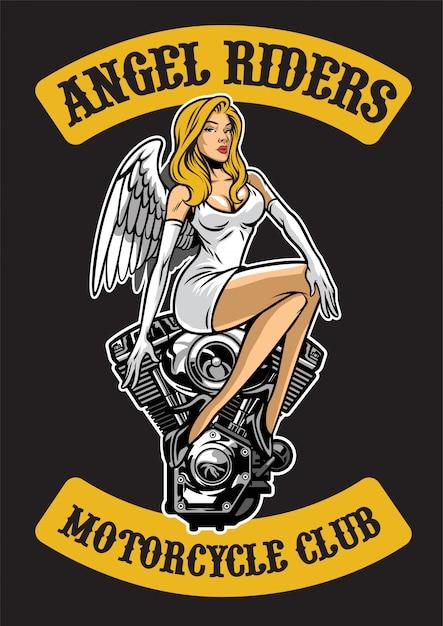 Sexy engel en motorfietsmotor Premium Vector