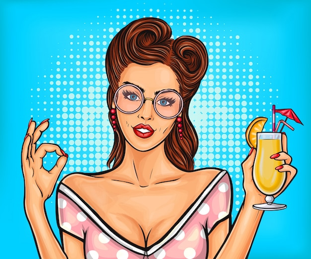 Sexy pop art girl toont teken ok Gratis Vector