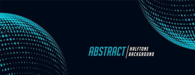 Sferische halftone banner in blauwe en zwarte tinten Gratis Vector