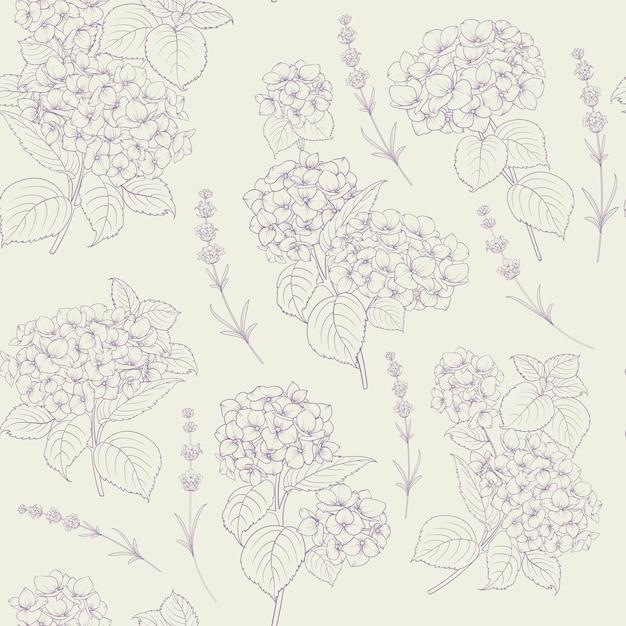 Shabby chic stijlpatroon met bloeiende hortensia. Premium Vector