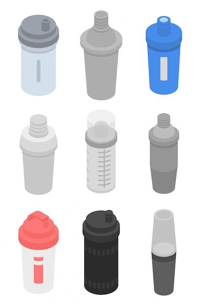 Shaker iconen set, isometrische stijl Premium Vector