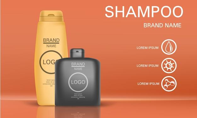 Shampoo concept achtergrond. realistische illustratie van shampoo vectorconceptenachtergrond voor webontwerp Premium Vector