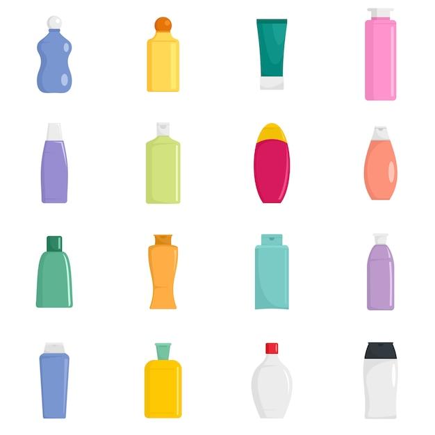 Shampoo fles haarverzorging pictogrammen instellen Premium Vector