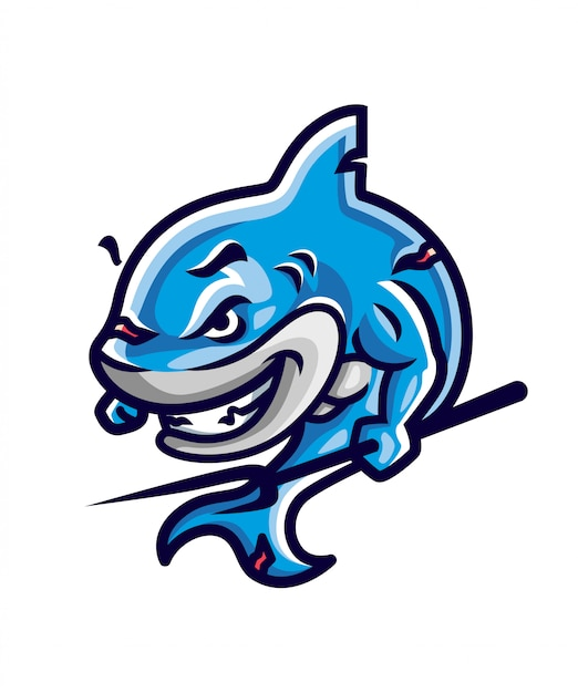 Shark warrior illustratie Premium Vector