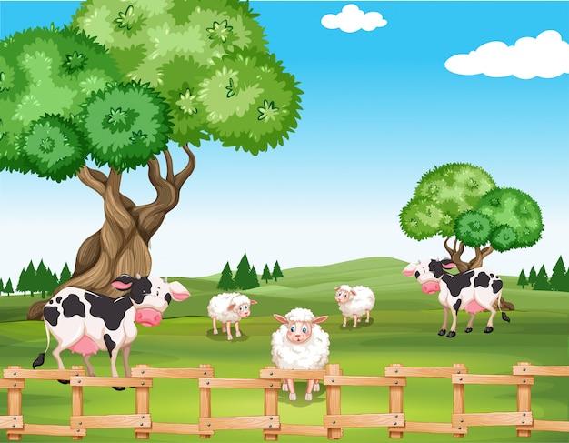 Sheeps en koeien in het veld Gratis Vector