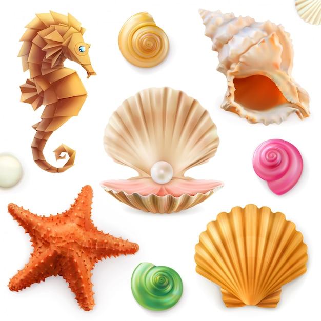 Shell, slak, weekdier, zeester, zeepaardje. 3d-set Premium Vector