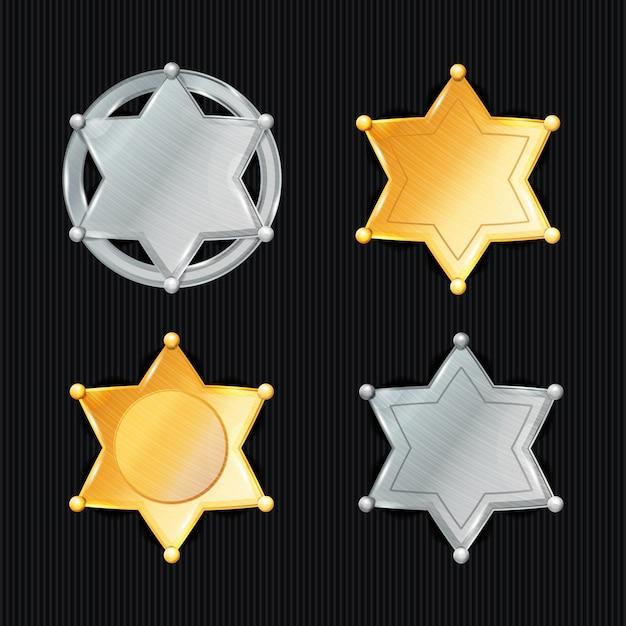 Sheriff badge star vector set. verschillende soorten. klassiek symbool. gemeentelijke rechtshandhavingsafdeling. geïsoleerd op zwart Premium Vector