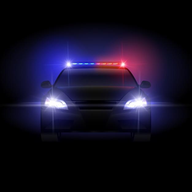 Sheriffpolitieauto bij nacht met opvlammende lichte illustratie. Premium Vector