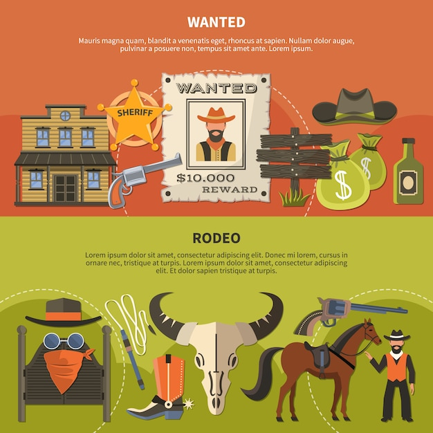 Sheriffs attributes and rodeo banners Gratis Vector