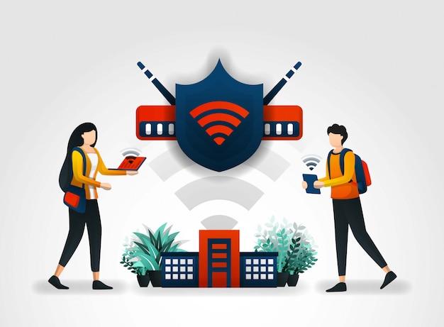 Shield beschermt studenten toegang via wifi Premium Vector