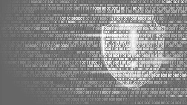 Shield guard veiligheidssysteem binaire codestroom, big data security hacker Premium Vector