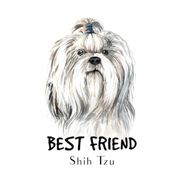 Shih tzu hondenwaterverf voor afdrukken. Premium Vector