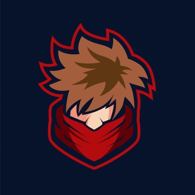 Shinobi boy mascotte-logo Premium Vector