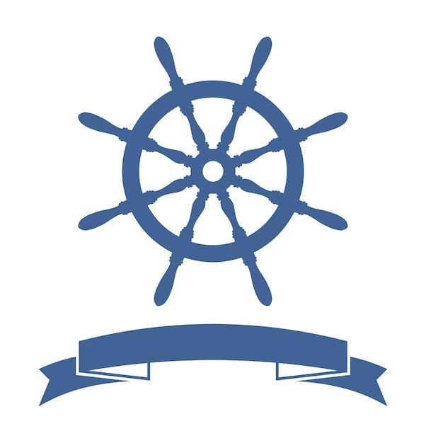 Ship wheel banner geïsoleerd op een witte achtergrond. vector illustratie Gratis Vector