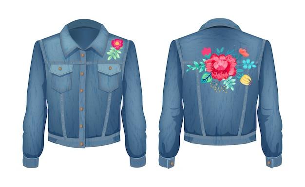 Shirt met bloemenpatches ingesteld Premium Vector