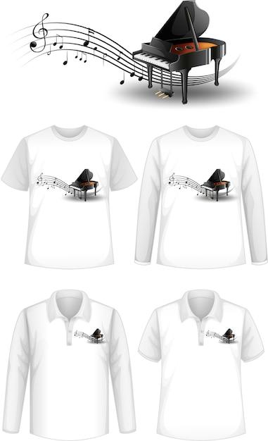 Shirt met logo van pianomuziekinstrumenten Gratis Vector