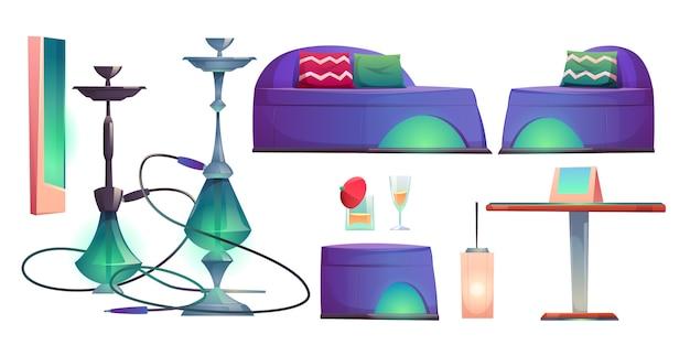 Shisha waterpijp bar set, café voor het roken van spullen Gratis Vector