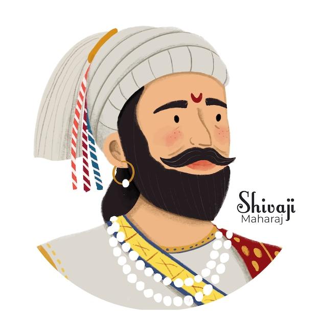 Shivaji maharaj illustratie Gratis Vector