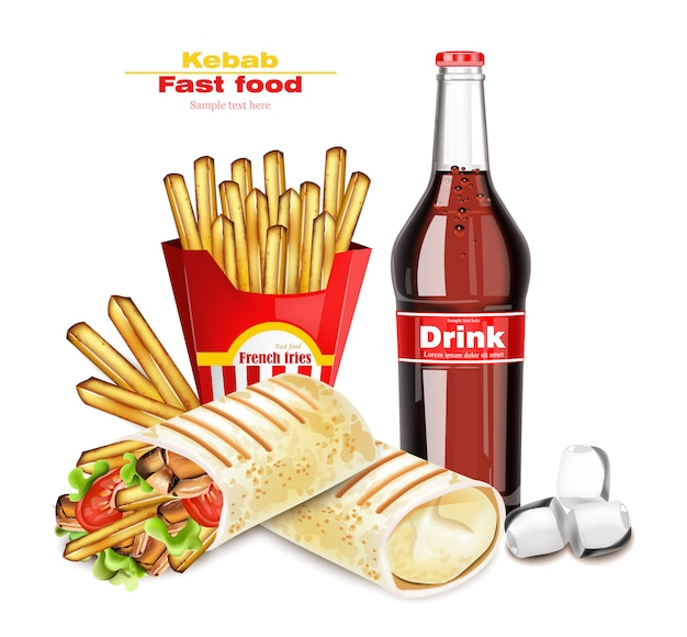 Shoarma en kebab fast food menu Premium Vector