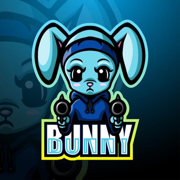 Shooter bunny mascotte esport illustratie Premium Vector