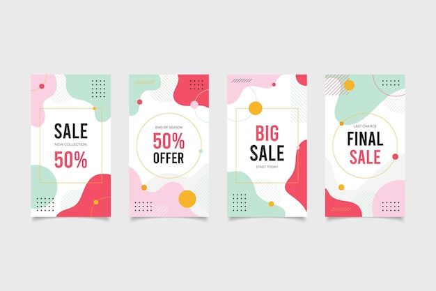 Shopping-verkoop social media-verhalenpakket Premium Vector