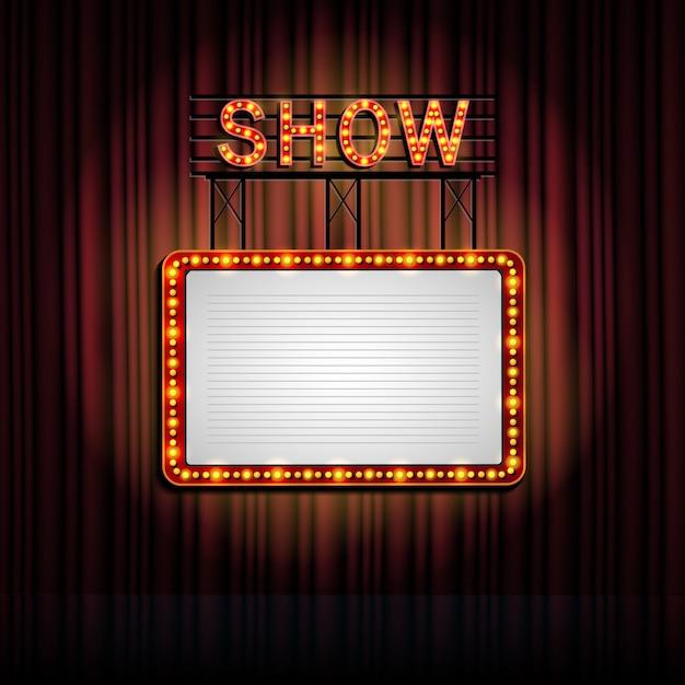 Showtime retro bord met gordijn achtergrond Premium Vector