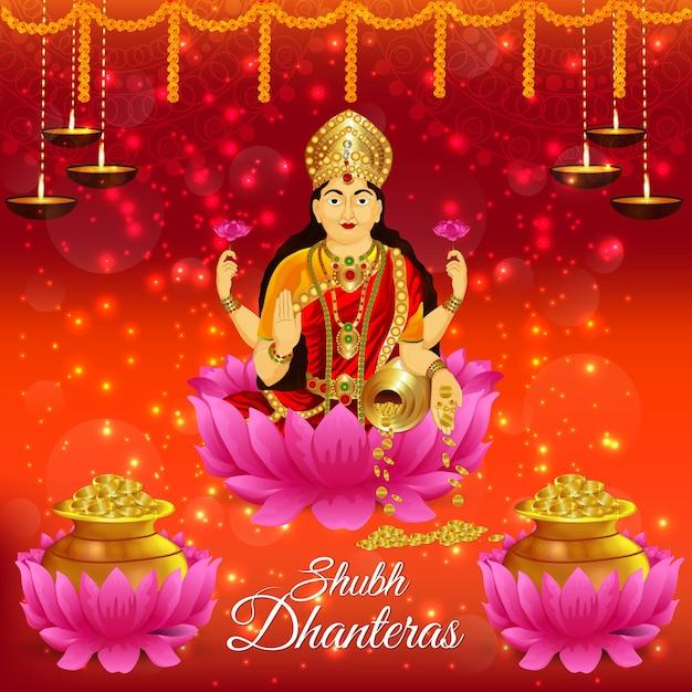 Shubh dhanteras met godin gouden muntpot Premium Vector
