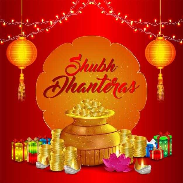 Shubh dhanteras viering wenskaart Premium Vector