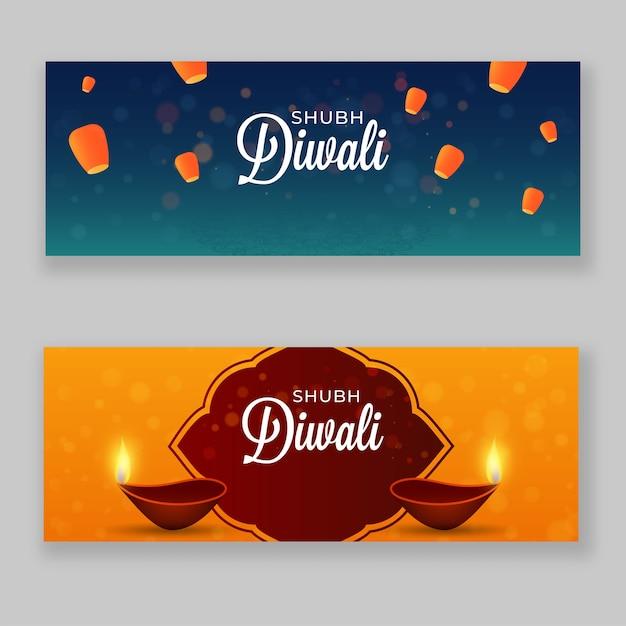 Shubh diwali header of banner design met brandende olielampen (diya) Premium Vector