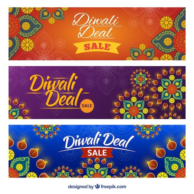 Sier banners van diwali-deals Gratis Vector