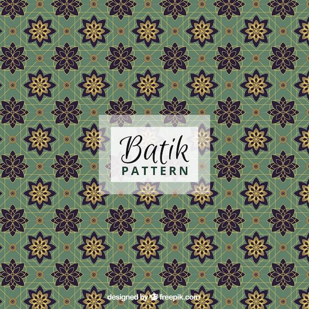 Sier bloemen patroon in stijl batik Gratis Vector