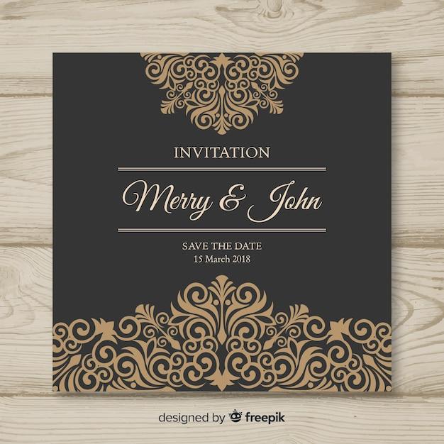 Sier bruiloft kaartsjabloon Gratis Vector