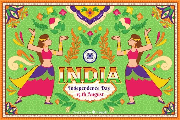 Sier de dagachtergrond van de onafhankelijkheid van india Gratis Vector