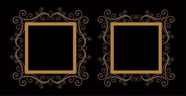 Sier decoratieve bruiloft bloemen frame set van twee Gratis Vector