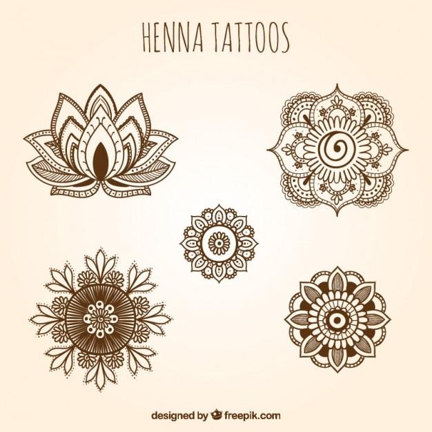 Sier henna tattoos set Gratis Vector
