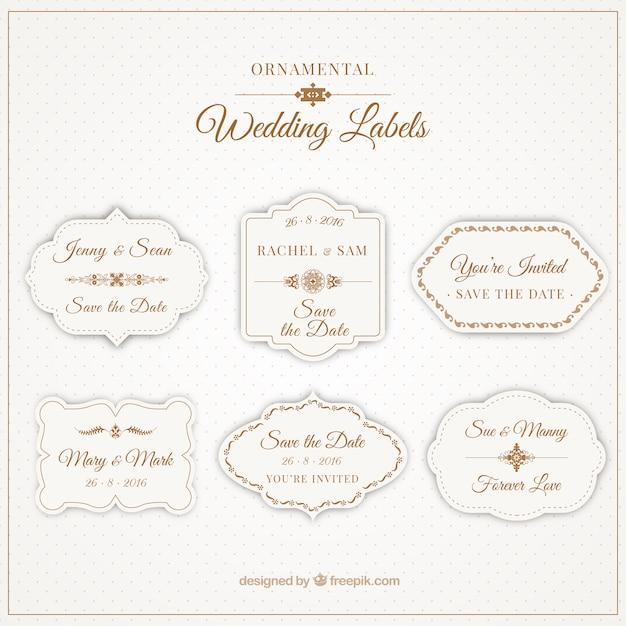 Sier labels voor bruiloften Gratis Vector