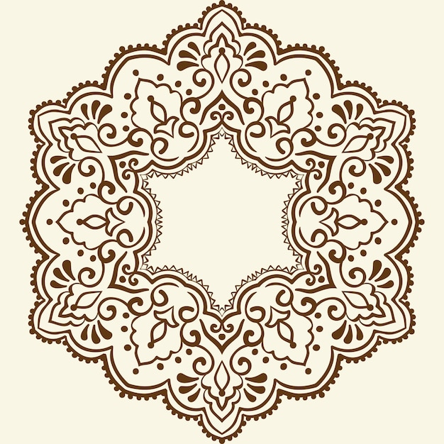 Sier rond kant met damast en arabesque elementen Gratis Vector