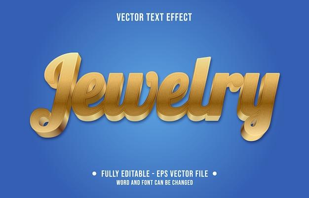 Sieraden bewerkbaar teksteffect moderne gradiënt gouden stijl Premium Vector